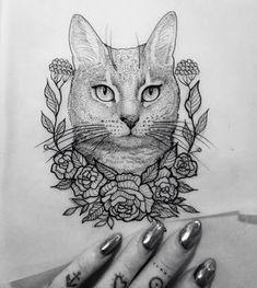 Resultado de imagem para cat mandala tattoo