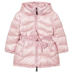 Monnalisa Pale Pink Long Line Padded Coat with Bow Tie Detail