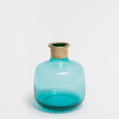 BLUE GLASS AND METAL VASE - Vases - Decoration | Zara Home United States of America