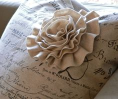 Script Print Pillow with Embellished Felt Flower book
