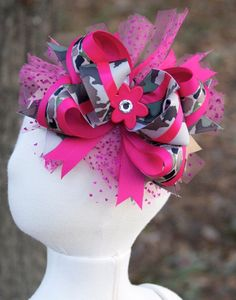 Hot Pink Camo Over-the-Top HAIR BOW