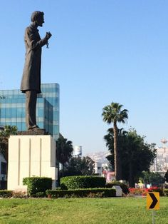 Abe Lincoln lives in Tijuana; he's one of the statues on the Paseo de los Heroes, a street adorned with monuments, He's depicted breaking the chains of slavery.