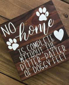 First home Projects - No home is complete without the pitterpatter of doggy feet reclaimed wood sign, dog sign, gift for dog lover, home decor, puppy decor. Reclaimed Wood Signs, Wooden Signs, Rustic Signs, Wood Crafts, Diy Crafts, Decor Crafts, Yule Crafts, Diy Home Decor For Apartments, Dog Home Decor