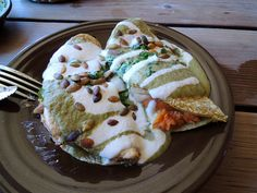 Quesadillas de Camote - sweet potato served with cashew, nacho cheese and pumpkin seed salsa at Gracias Madre, San Francisco - Review: http://doufumafia.com/2012/09/19/sf-veggie-eats-gracias-madre-cha-ya-japanese/