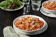 Italian comfort food at its best, this creamy and flavorful tomato risotto serves 4 as a main dish or 6 as a side dish. Tomato Risotto, Lasagna Cook Time, Sausage And Peppers, Stuffed Peppers, Rice Dishes, Main Dishes, Vegetable Pasta Bake, Butternut Squash Lasagna, Recipes