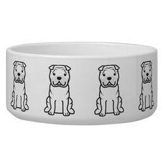 Chinese Shar-Pei Dog Breed Cartoon Bowl Dog Bowls