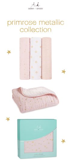 the perfect gift for any new baby: a glam metallic collection that includes soft cotton muslin swaddles, a dream blanket and crib sheet in shiny primrose. the soft, breathable cotton muslin aden + anais is known for, in shiny luxe prints fit for any little one.