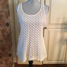 beautiful crochet top  Excellent condition. It's a juniors XL, will also fit a woman's small, medium. Making room in my closets. Smoke and pet free home. Pretty Rebellious Tops Tunics