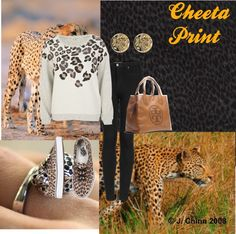 """Cheeta Print"" by ecshaffer ❤ liked on Polyvore"