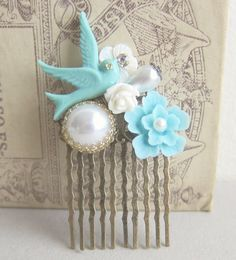 Wedding Hair Comb Tiffany Blue Hair Comb White by Jewelsalem,   could be your something blue. the bird makes me think of mom and her mom.