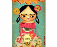 Frida Kahlo bird ORIGINAL CANVAS PAINTING collage mixed by tascha