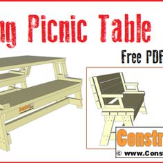Folding picnic table plans. Free PDF download, step-by-step easy to follow instructions.