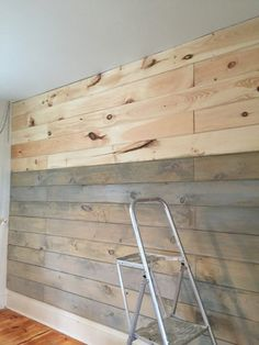 "Staining a plank wall with Milk Paint [] add-on 3"" or 4"" base board, unfinished boards for floating shelves, industrial style."