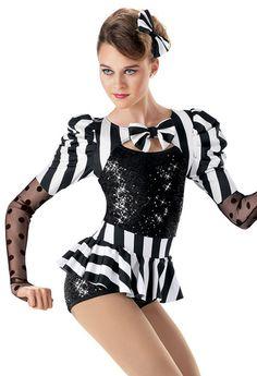 Hatter?  Sequin Stripe Peplum Biketard -Weissman Costumes