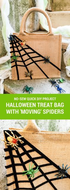 "Easy DIY trick-or-treat bag: No-sew ""sticky spiderwebs"" bag. Move spiders around the webs. Eek! 