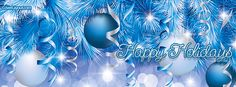 Happy Holidays Blue Christmas Facebook Cover