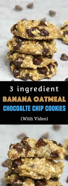 : Banana Oatmeal Chocolate Chip Cookies – Soft, chewy, and super easy cookies. All you need is only 3 ingredients: two ripe bananas, some oats and a handful of chocolate chips. Gluten-free, dairy-free, quick and easy recipe. Vegetarian. Video Recipe.   Tipbuzz.com