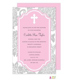 Baptism and Christening Invitations with gown and cross Christian