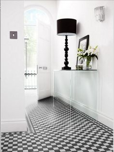 Bathroom wall tiles at Topps Tiles. Available in a range of colours and materials. Express and 24 hour home delivery available. Hall Tiles, Tiled Hallway, Victorian Hallway, Victorian Tiles, Victorian Bathroom, Black And White Tiles, Black White, Black And White Hallway, Grey Hallway