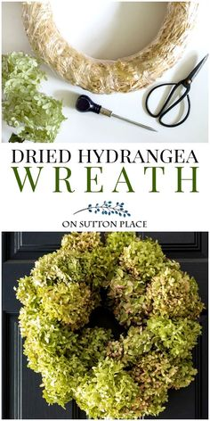 Dried Hydrangea Wreath Tutorial. Easy directions with pictures to make your own wreath. Can be used with dried or faux hydrangeas.