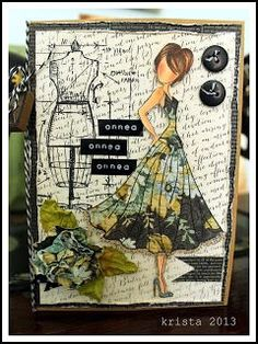 Prima Doll - Julie Nutting ~ image only Prima Paper Dolls, Prima Doll Stamps, Paper Art, Paper Crafts, Sewing Cards, Dress Card, Doll Crafts, Art Journal Inspiration, Card Tags