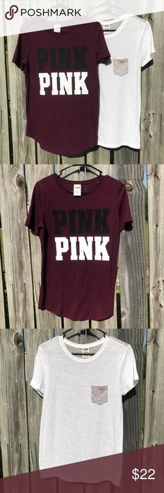 """Lot of 2 VS PINK shirts 2 Gently used Victoria's Secret Pink Tees. Both are in good condition. One is Maroon colored with """"PINK"""" listed in white and black and Other is White with Gray pocket and Gray back. Perfect for a Summer day! - Thank you for looking at my item, comment if you have any questions! - Bundle with other items in my closet to save! ❤️ PINK Victoria's Secret Tops Tees - Short Sleeve"""