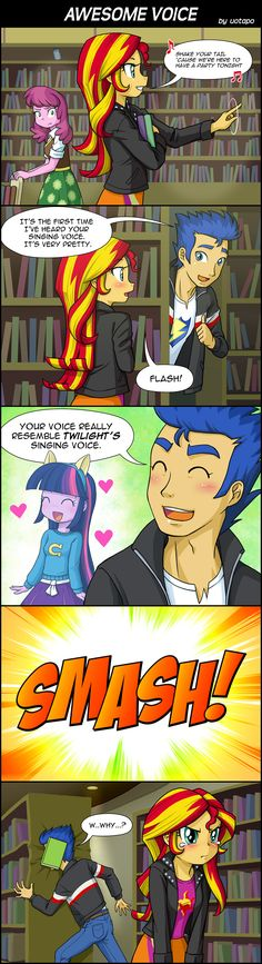 LOL I get it! Because the person who plays Twilight's singing voice plays Sunset Shimmer! XD
