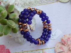 Bracelet wire wrapped Healing stones Amethyst stones w/ Crystals and Rose Gold