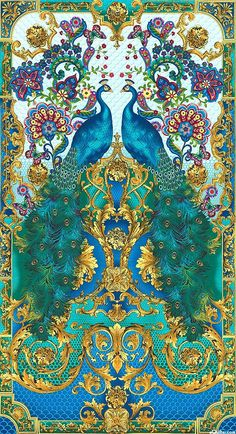 "eQuilter Hyde Park - Opulent Peacock Floral - Turquoise - 24 ""x 44"" PANEL:"