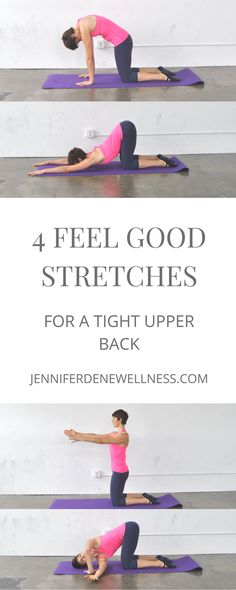 todays workout Im sharing four upper back stretches that will make your spine feel divine. All you need is an exercise mat so come on in and join the fun! Upper Back Stretches, Good Stretches, Upper Back Pain, Upper Back Strengthening Exercises, Scoliosis Exercises, Mat Exercises, Tight Hip Flexors, Psoas Muscle, Back Pain Relief