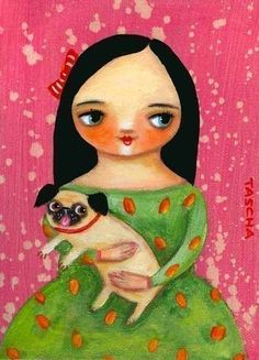 Pug dog pink WALL art PRINT of original painting 5x7 by tascha, $15.00