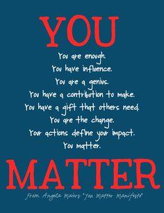 You matter manifesto. Copyright Krissy Venosdale and Angela Maiers