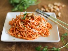 Raw Carrot Pasta with Ginger-Lime Peanut Sauce Recipe Main Dishes with carrots, roasted cashews, fresh cilantro, creamy peanut butter, coconut milk, liquid aminos, cayenne pepper, garlic, fresh ginger, lime juice, kosher salt