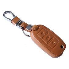New Leather Car Key Case Remote Key Bag Key Holder Cover For Volkswagen Brown