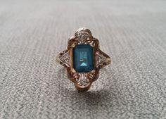 Antique Art Deco Engagement Ring Estate Teal London Blue Topaz Diamond two toned Gold Art Nouveau 1920s 10K…