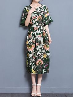 d184e8af0d80 Casual Floral Print Loose Half Sleeve O-neck Maxi Dress For Women
