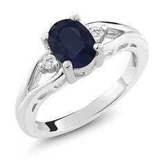 Gem Stone King 925 Sterling Silver Blue Sapphire Women's Ring Ct Oval Gemstone Birthstone) (Size – Fine Jewelry & Collectibles Tungsten Mens Rings, Tungsten Wedding Rings, Gold Wedding Rings, Silver Rings, Silver Jewelry, Wedding Jewelry, Natural Sapphire Rings, Antler Ring, Men's Jewelry Rings