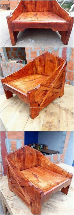 Challenge Your Craft Skills With These Wood Project Ideas. Visit Us For More Wooden Chair Designs Barn Wood Crafts, Pallet Crafts, Diy Pallet Projects, Wood Projects, Pallet Ideas, Project Projects, Wooden Chair Plans, Chair Design Wooden, Woodworking Wood