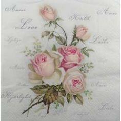 Guardanapo-Buque de Rosas Cor de Rosa Fundo com Escritos F1008
