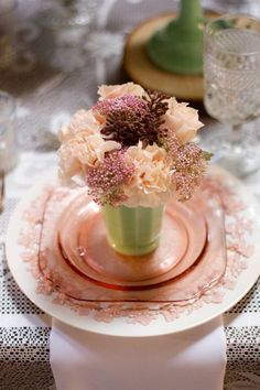 sweet tablesetting with depression glass peachy pink. @Lainey May I'm still interested in inheriting your pink depression glass set. :)