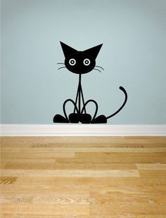 Cat Wall Decal larger size sitting cat matte vinyl by signchick1, $12.00