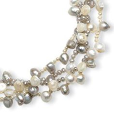 Sterling Silver Freshwater Cultured Pearl Platinum & White Pearl