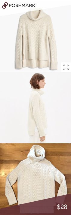 Madewell White Cable Knit Turtleneck Sweater Warm, cute baggy fit sweater. Longer in the back, small side slits. Great with leggings or skinny jeans. Have also worn with pencil knit skirt for work.  Good, used condition. No damage or stains; smoke free home. Very light pilling along the cuffs - priced and sold as is. Madewell Sweaters Cowl & Turtlenecks