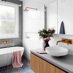 ~ Beautiful bathroom - love the brass tapware and tile combo ~ design by…