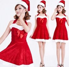 New Sexy Christmas Lingerie Little Santa Baby Costume Women Sexy Sling Bow Holiday Clothing Sexy Lingerie(Dress+Hat+Belt)