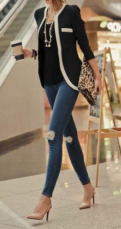 knee ripped jeans + blac blazer office attire