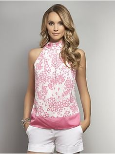 Floral-Print Halter Blouse - White Colorblock from New York & Company