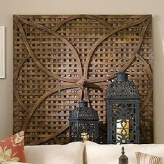 DIY-able project - make plain lattice look fabulous with a decorative overlay! Garden Wood Lattice Petal Wall Art - A latticed panel from an English garden folly was the model for this weathered-wood wall art.