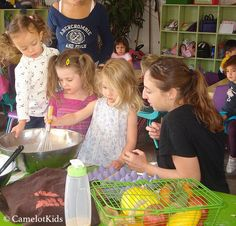 """Camelot Chefs – """"Books-for-Cooks"""". This beginning-to-cook class is a perfect way to quench young chefs' thirst for culinary adventure and develop their appetite for nutritious nibbles. http://camelotkids.org/programs/enrichment/ #CamelotKids #KidsCook #Enrichment #EarlyEducation #preschool #Kindergarten"""