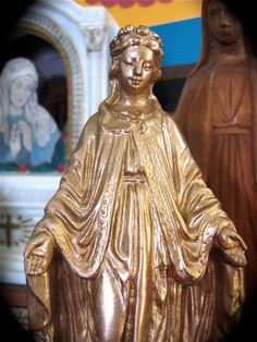 Antique 11.5 VIRGIN MARY French Spelter Metal by VINTAGELOURDES, $82.00